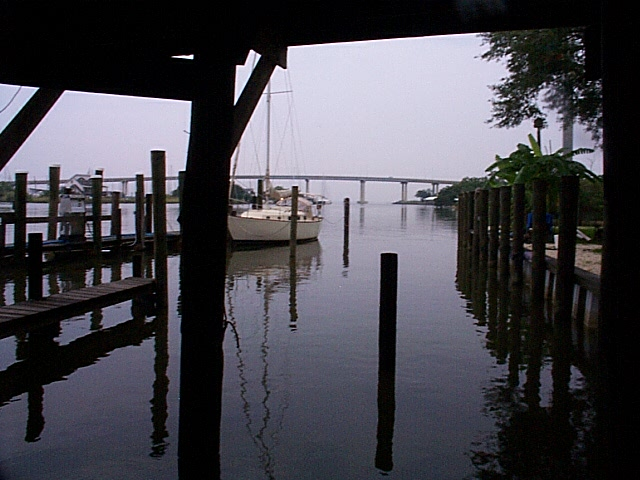 Grand Mariner marina, with view of bridge over Dog River