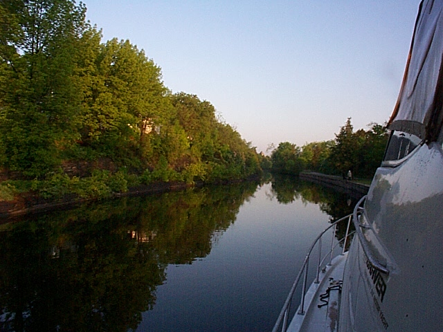 Cruising the narrow canals of the Trent-Severn Waterway in Canada