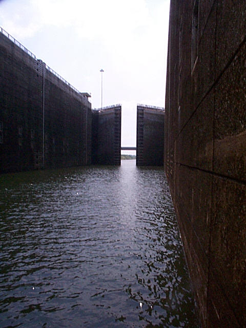 The lower gates close on the Whitten Lock chamber.
