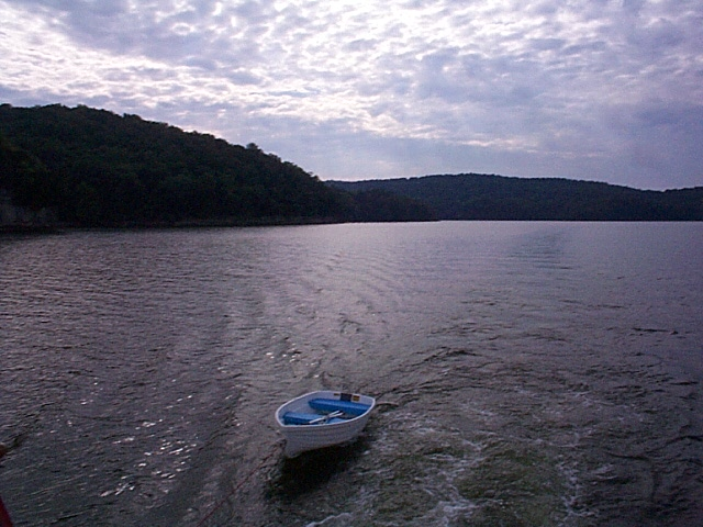 Towing our little dinghy down the Tennessee